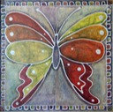 E. Andrew Mills, Bashful Butterfly, acrylic on canvas, 24 x 24 inches Patrick Burns SM