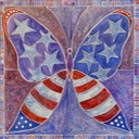 EAM Patriotic Butterfly, acrylic on canvas, 30 x 30 inchesWEB