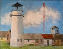 VWM Lighthouse, oil and encaustic on green canvas, 48 c 60 inchesweb