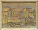 VWM Untitled (Buildings and Boats), oil on board, 17 � x 24 inchesWEB